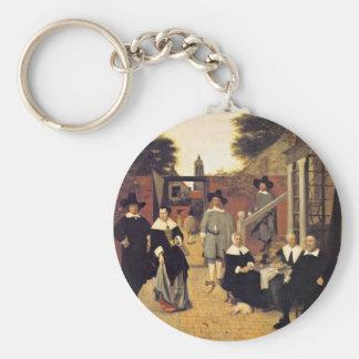 Holländische Family By Hooch Pieter De Basic Round Button Key Ring