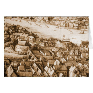 Hollar's Globe Theatre Long View of London Greeting Card