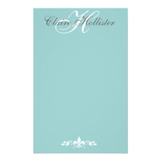 Hollister Monogram Pale Blue Feminine Personal Stationery Paper
