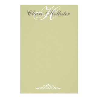 Hollister Monogrammed Sage Personalized Stationery