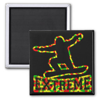 HOLLOW EXTREME SNOWBOARDER IN RGY CAMO SQUARE MAGNET