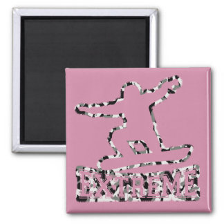 HOLLOW EXTREME SNOWBOARDER IN URBAN CAMO SQUARE MAGNET