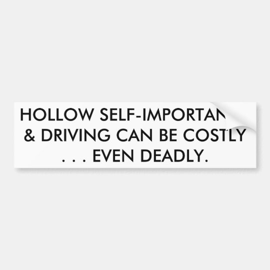 HOLLOW SELF-IMPORTANCE & DRIVING CAN BE DEADLY BUMPER STICKER