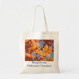 Holloween Chocolate! tote bag Orange Autumn Leaves