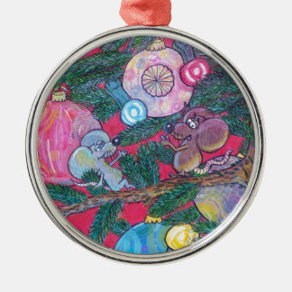 Holly and Angel Silver-Colored Round Decoration