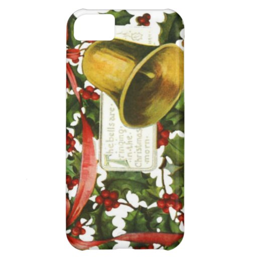 Holly and bells Christmas greeting Cover For iPhone 5C