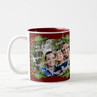Holly and Berries Christmas Photo Mug