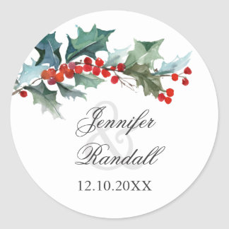 Holly and Berries Holiday Greenery Classic Round Sticker