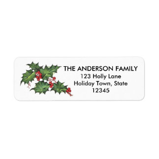 Holly and Berries | Holiday Return Address Labels
