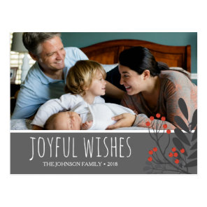 Holly and Berries Joyful Wishes Christmas Photo Postcard