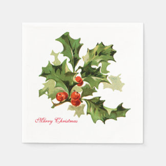 Holly and Berries Napkin Disposable Serviette