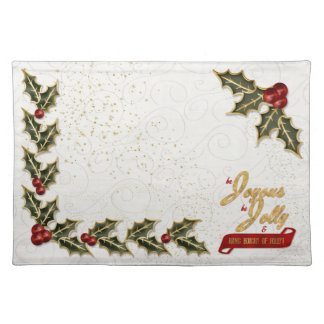 Holly and Berry Bordered Joyous and Jolly Holiday Placemat