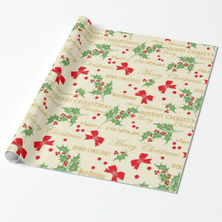 Holly and Bows Christmas Wrapping Paper