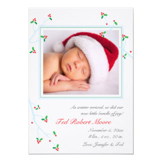 """Holly and Branches Birth Announcement 5"""" X 7"""" Invitation Card"""