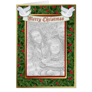 Holly and Dove Christmas Greeting Card