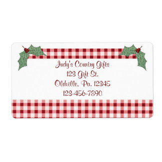 Holly and Gingham Label
