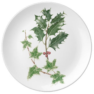 Holly and Ivy Sprig Botanical Watercolour Plate