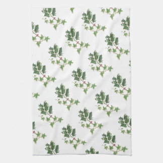 Holly and Ivy Sprig in Botanical Watercolour Tea Towel
