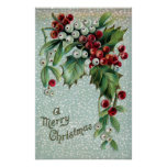 Holly and Mistletoe Berries Poster