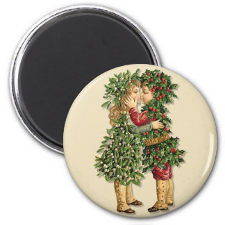 Holly and Mistletoe Kids 6 Cm Round Magnet