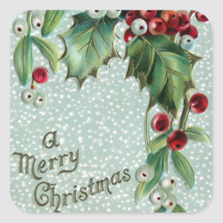 Holly and Mistletoe Vintage Christmas Square Sticker