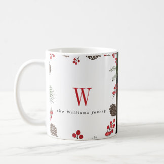 Holly and Pine Christmas Photo Mugs