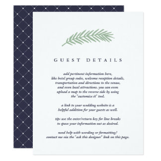 Holly and Pine Guest Information Card