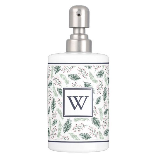Holly and Pine Holiday Monogram Soap Dispenser And Toothbrush Holder