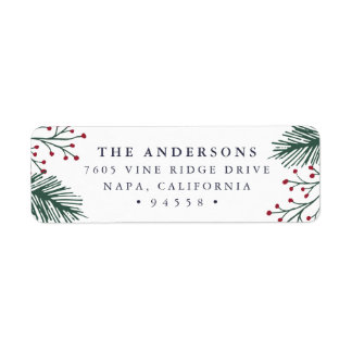 Holly and Pine | Holiday Return Address Return Address Label