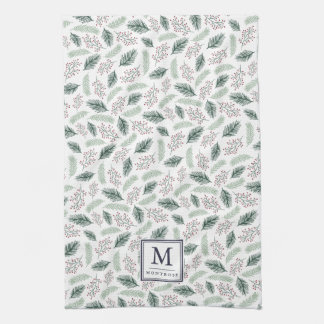 Holly and Pine Monogrammed Christmas Tea Towel