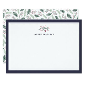 Holly and Pine | Personalized Stationery Card