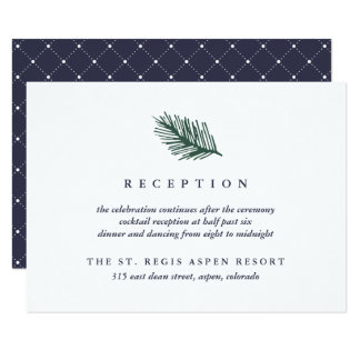 Holly and Pine Wedding Reception 9 Cm X 13 Cm Invitation Card