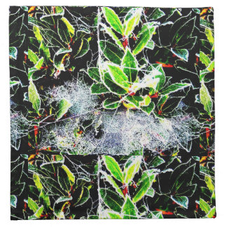 holly and red berries with frosted cobweb original napkin