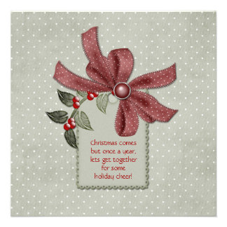 Holly and Red Ribbons Office Christmas Party Invit Invites