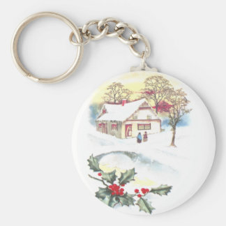 Holly and Snow Covered Scene Vintage Christmas Basic Round Button Key Ring