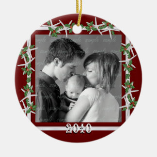 Holly and Starfish Red Family Photo Frame Christmas Ornament