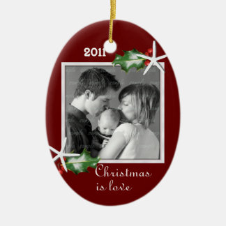 Holly and Starfish Red Oval Family Photo Frame Christmas Ornament