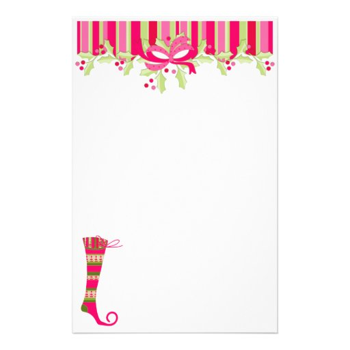 Holly and Stocking Christmas Stationary Personalized Stationery