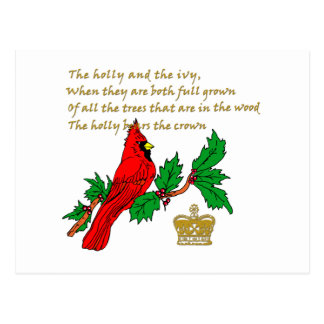 Holly and the Ivy Illustrated on Apparel & Gifts Postcard