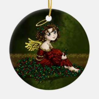 Holly Angel Christmas Ornament