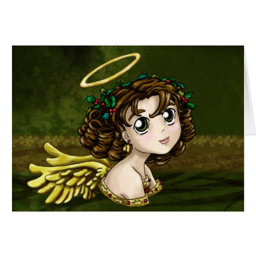Holly Angel Greeting Card