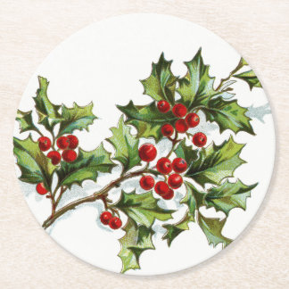 Holly Berries 001 Round Paper Coaster