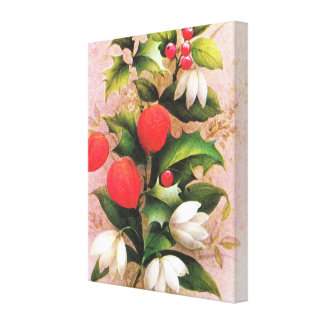 Holly, berries and Christmas flowers Stretched Canvas Prints