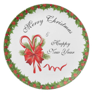 Holly Berries Christmas and Candy Canes Plate