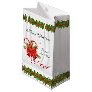 Holly Berries Christmas and Candy Canes Small Gift Bag