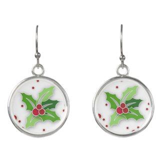 Holly & Berries Christmas Earrings