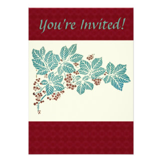 Holly Berries Leaves Traditonal Christmas Party Invitation