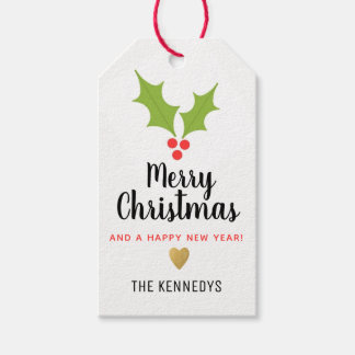 Holly Berries Merry Christmas Gift Tags