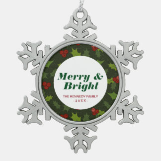 Holly Berries Snowflake Pewter Christmas Ornament
