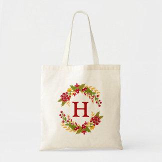 Holly Berries Wreath Monogrammed Tote Bag